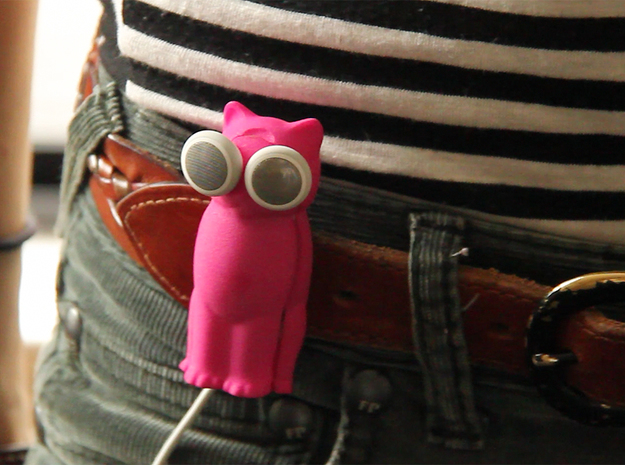 Puppy Dog Earbud Storage Case 3d printed A pink Bud-E kitty hanging on a belt.