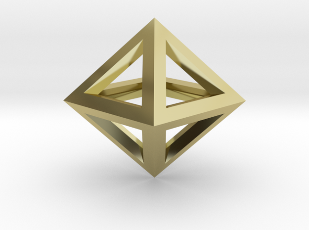 S2 Pendant. Perfect Pyramid Structure. in 18k Gold Plated Brass