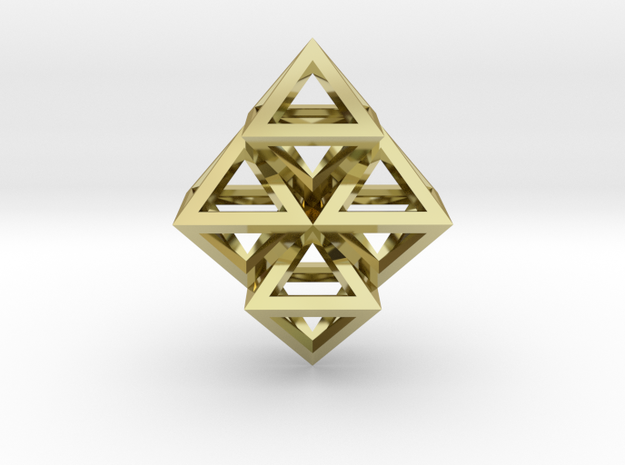 R8 Pendant. Perfect Pyramid Structure. in 18k Gold Plated Brass