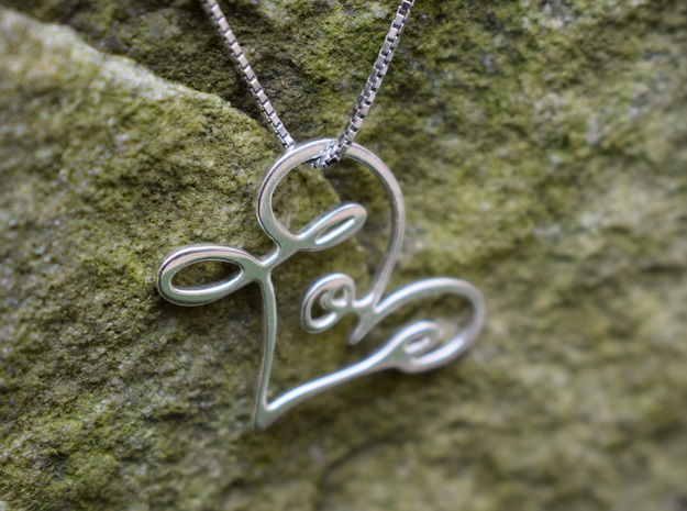 Love Pendant in Fine Detail Polished Silver
