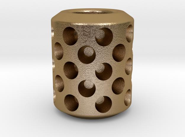 Bead, Holed V1 in Polished Gold Steel