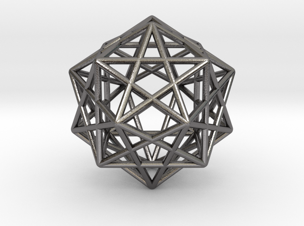 Star Faced Dodecahedron in Polished Nickel Steel