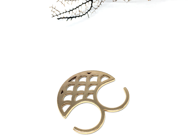 Mermaid double ring in Polished Bronze