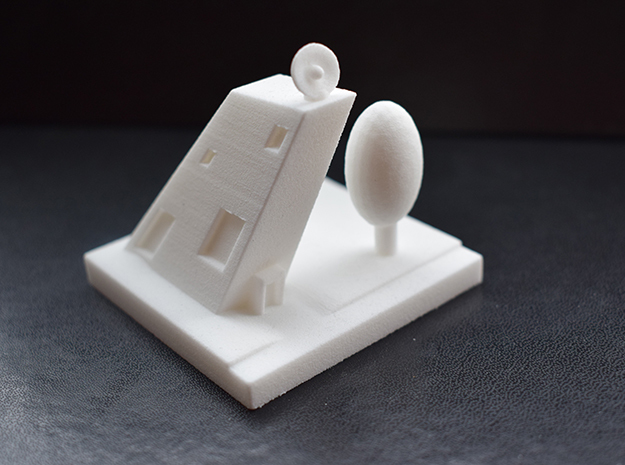 Oblique Building in White Natural Versatile Plastic