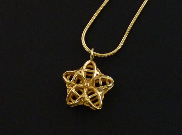 Wire Flower Pendant in Polished Brass