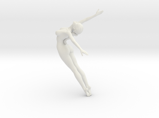 Long Ponytail Girl-002 in White Natural Versatile Plastic