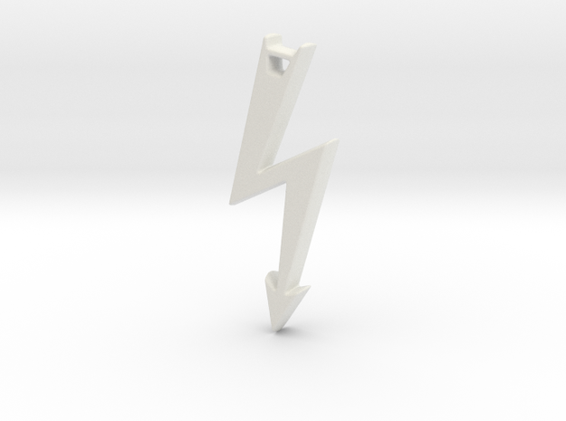 Electrical Hazard Lightning Bolt with Hole in White Natural Versatile Plastic