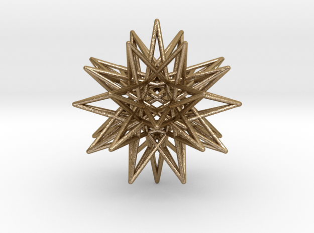 "IcosiDodecahedral Star 1.5"" in Polished Gold Steel"