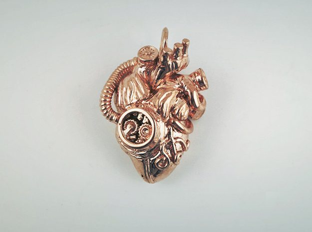 Steampunk Heart Pendant  in 14k Rose Gold Plated