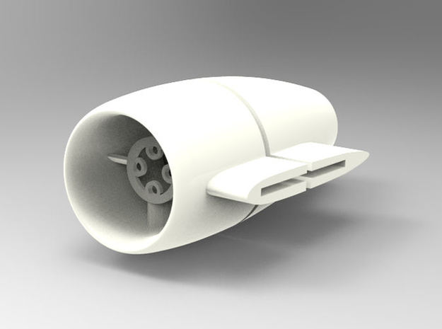 25mm EDF Nacelle with side mount in White Natural Versatile Plastic