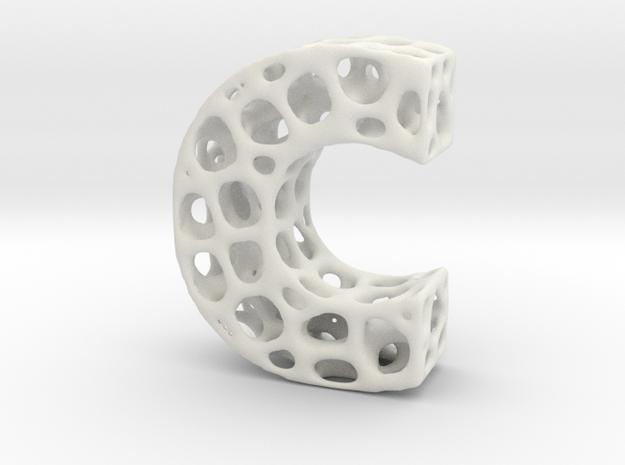 Voronoi Letter ( alphabet ) C in White Natural Versatile Plastic