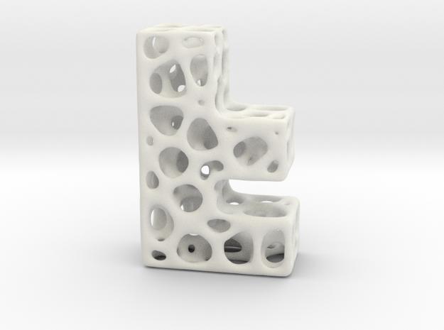 Voronoi Letter ( alphabet ) F in White Natural Versatile Plastic