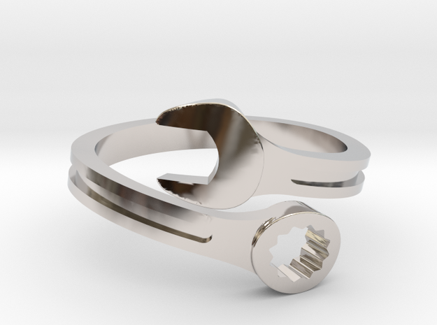Drive Girl. Spanner ring. Speed and drive. in Rhodium Plated Brass: 7 / 54