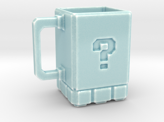 8 Bit Retro Gaming Mug in Gloss Celadon Green Porcelain