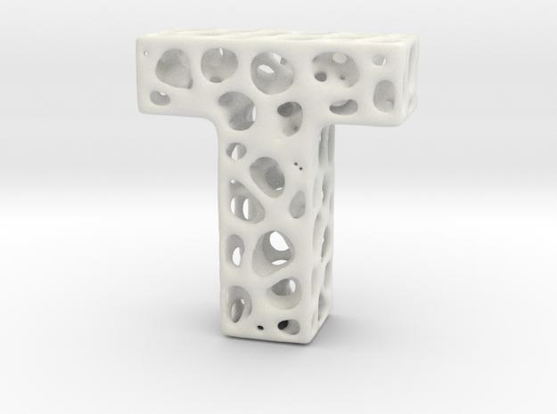 Voronoi Letter ( alphabet ) T in White Natural Versatile Plastic