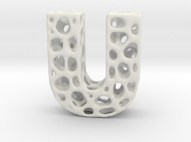 Voronoi Letter ( alphabet ) U in White Strong & Flexible