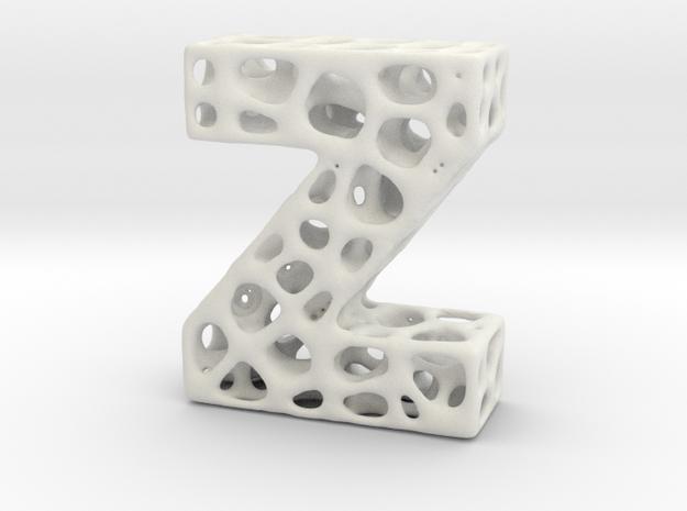 Voronoi Letter ( alphabet ) Z in White Strong & Flexible