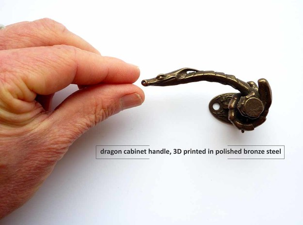 Dragon Cabinet Handle 10 - looking left in Polished Bronzed Silver Steel