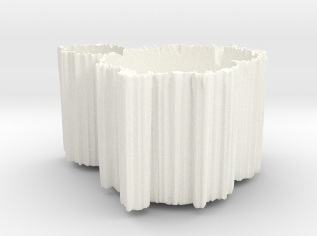 Mandelbrot Vase 1 with Base in White Processed Versatile Plastic
