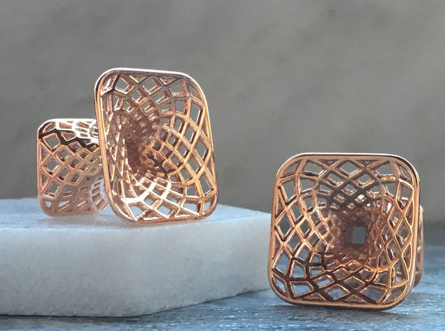 Diagrid Cufflinks - Sqaure in 14k Rose Gold Plated Brass