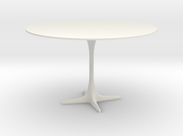 Burke Tulip Style Table w/ Propeller Base in White Natural Versatile Plastic: 1:12