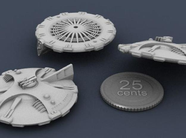 Martian Icaria class Strike Cruiser 3d printed A three-view rendering of the model, with virtual quarter for scale.
