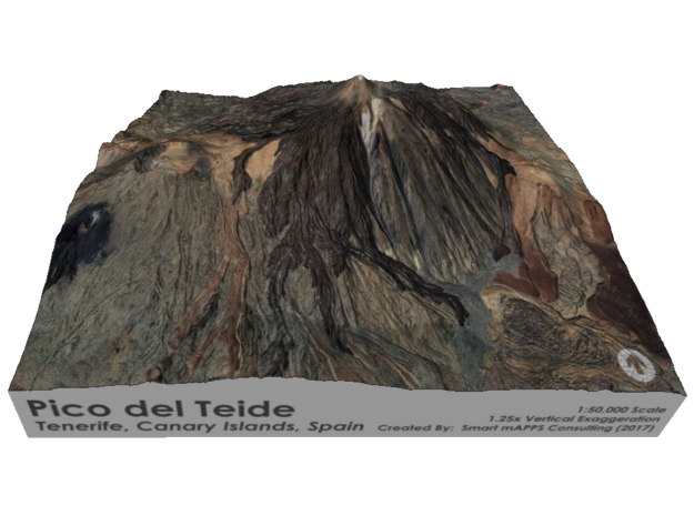 Pico del Teide Map, 1:50,000 in Matte Full Color Sandstone