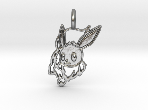 Eevee Pendant in Raw Silver