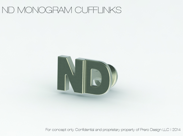 Monogram Cufflinks ND 3d printed