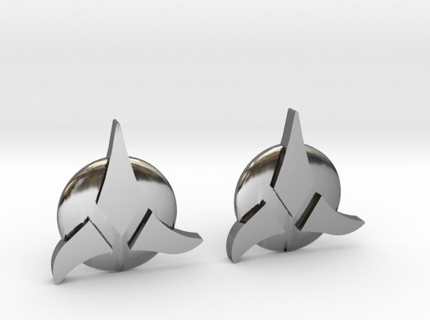 Klingon Cufflinks in Premium Silver