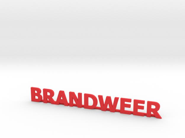 Letters Brandweer met steun 90 mm breed in Red Processed Versatile Plastic: 1:87 - HO