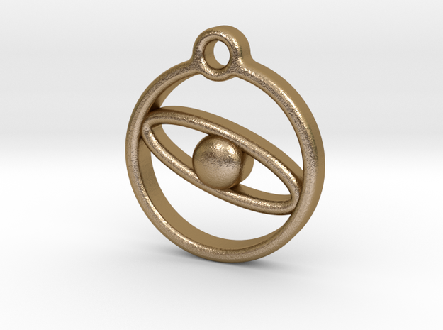 Planet necklace  in Polished Gold Steel