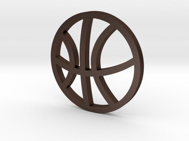 Sports Pendant - Basketball in Matte Bronze Steel