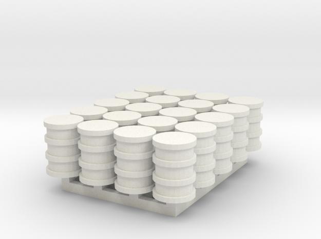1/144 set of German Oil drums in White Natural Versatile Plastic