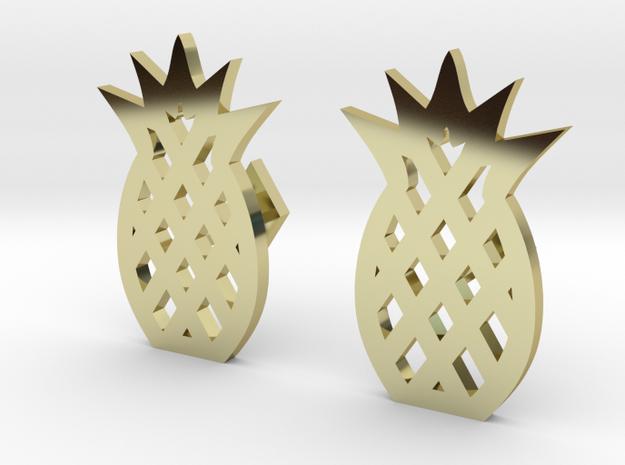 Pineapple Cufflinks in 18k Gold Plated Brass