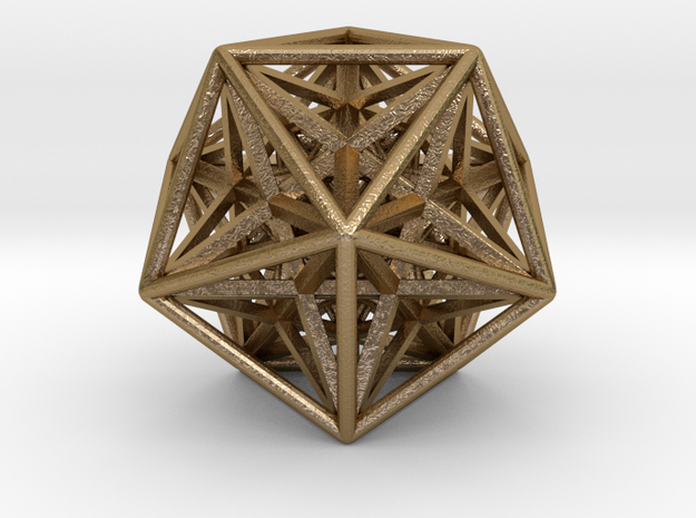 "Super Icosahedron 1.5"" in Polished Gold Steel"