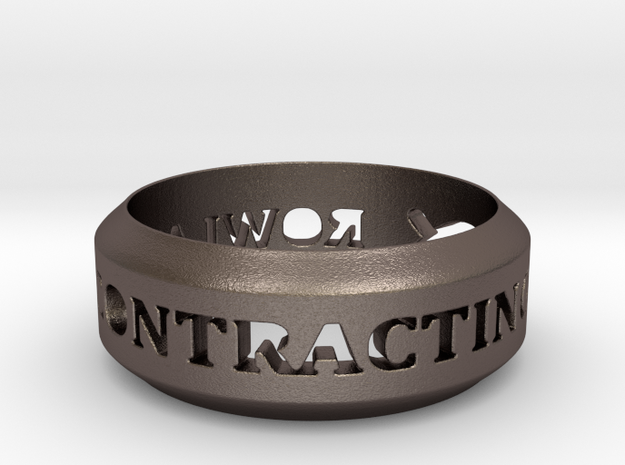 Rowland Contracting Ring with Fish in Polished Bronzed Silver Steel: 12 / 66.5