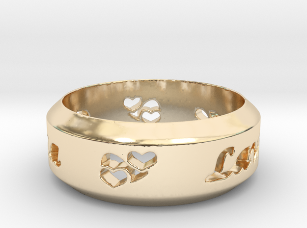 Anniversary Ring with Triple Hearts - May 7, 1990 in 14k Gold Plated Brass: 12 / 66.5
