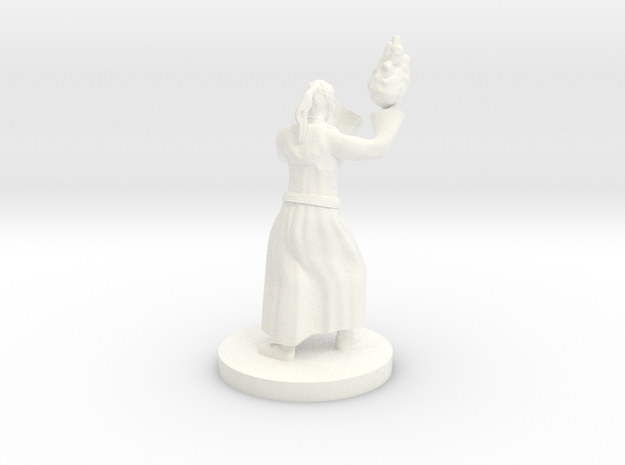 Kansif, the Half Orc Wizard with Book and Fireball in White Processed Versatile Plastic