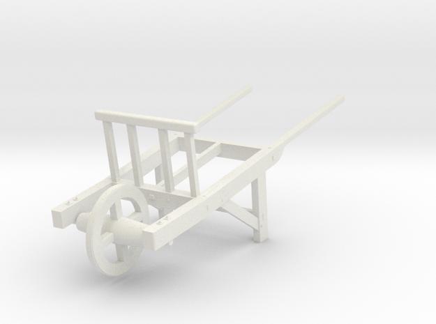 18th Century Utility Wheelbarrow 1/24 in White Natural Versatile Plastic