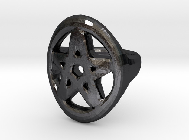 Pentacle Ring - size 12 in Polished and Bronzed Black Steel