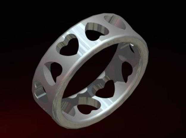 Ring with hearts 3d printed Image rendered in Pro/Engineer