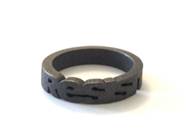 Unisex Steel Resist Ring  in Polished and Bronzed Black Steel: 12 / 66.5