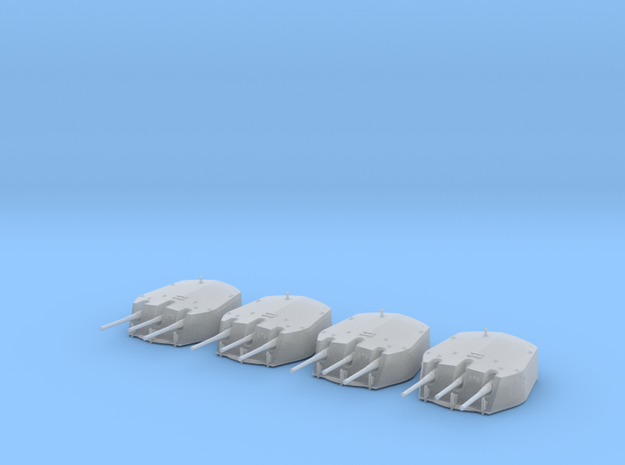 1/415 RN Triple 6 Inch MKXXIII Turrets (4) in Smoothest Fine Detail Plastic