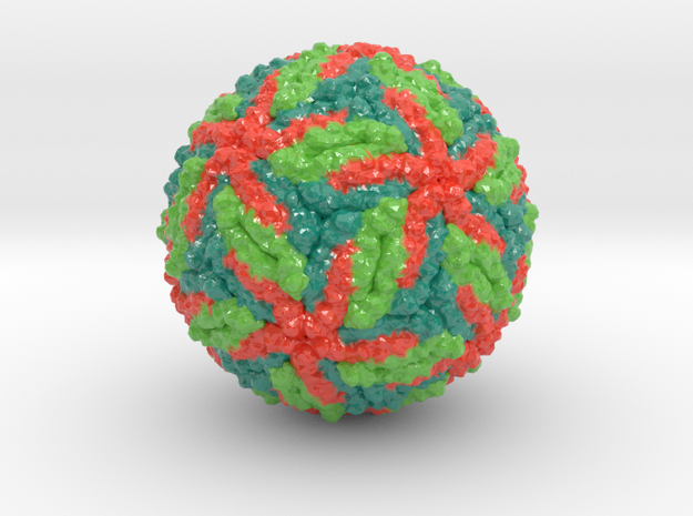 Zika virus (alternate color scheme) in Glossy Full Color Sandstone