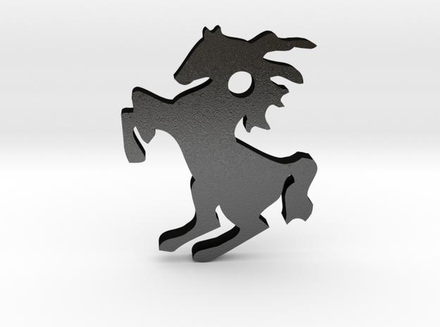 Horse Pendant in Matte Black Steel
