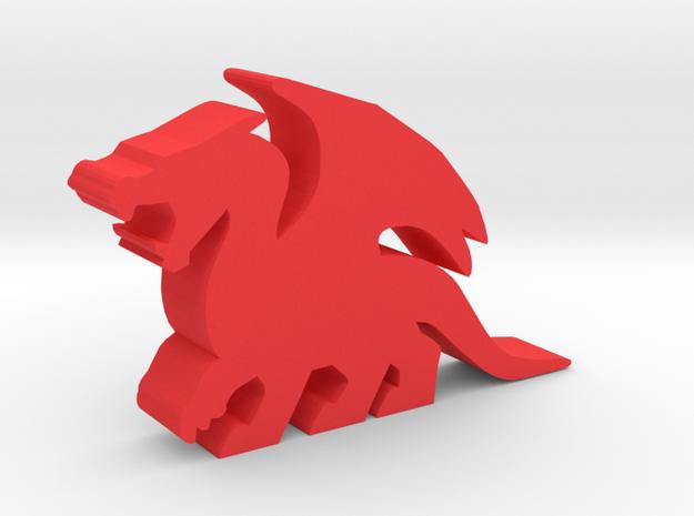 Game Piece, Dragon, Roaring in Red Processed Versatile Plastic