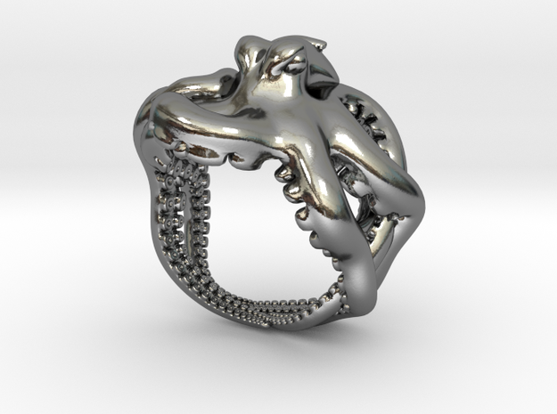 Octopus Ring2 16mm in Polished Silver