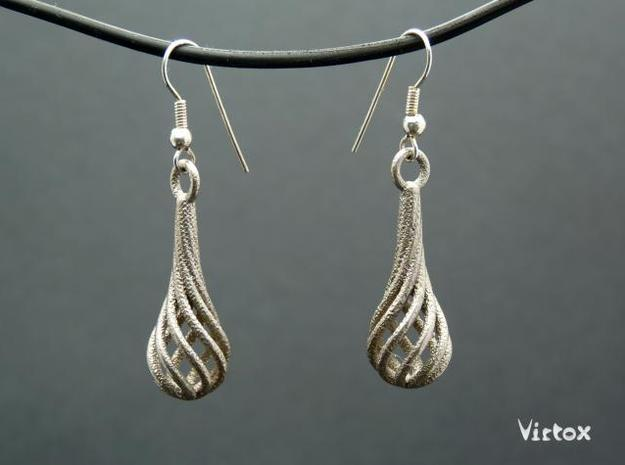 Eardrops Ib in Polished Bronzed Silver Steel
