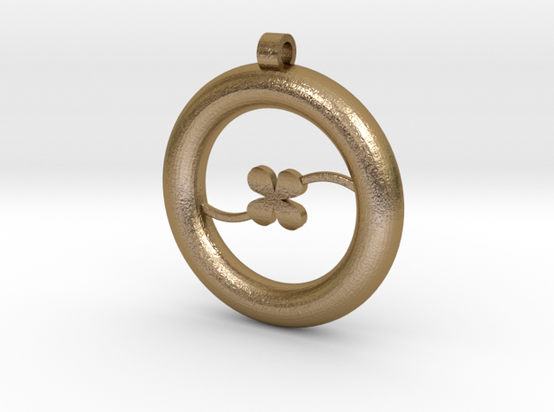 Ring Pendant - Clover in Polished Gold Steel